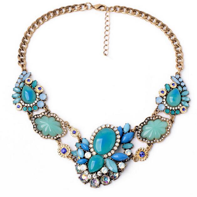 Collana donna con collane di fiori blu collane di gioielli vintage Collares donna S99605