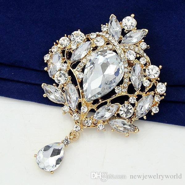 Lujo 4 pulgadas enorme broche de cristal elegante boda nupcial colgante gota de agua cuelga broche Pin fino regalo para las niñas