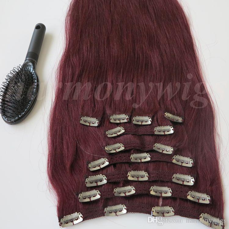 160g 20 22inch 100% Human Hair Clip in Hair Extensions Smooth Brazilian Hair 99J#/Red Wine Remy Straight Hair free comb