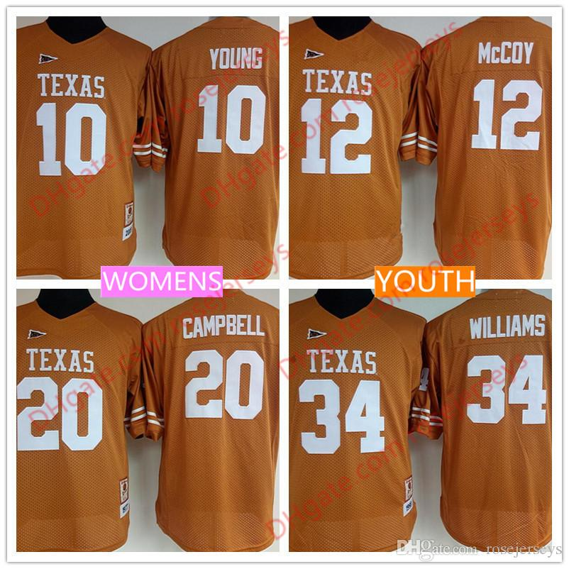 best sneakers aca59 5bc13 Womens Youth Texas Longhorns 12 Colt McCoy 10 Vince Young 20 Earl Campbell  34 Ricky Williams Stitched Retro Orange NCAA Kids Jerseys