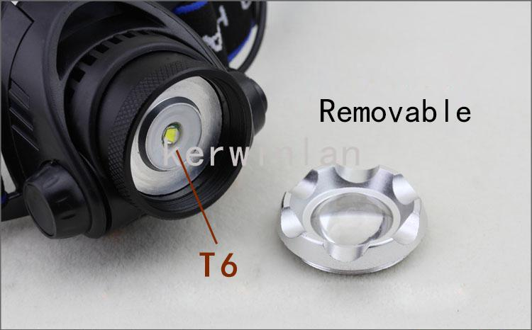 Linterna de faro LED 1800LM CREE XM-L XML T6 Interruptor de 3 faros de modo Faro con zoom ajustable con 2 baterías recargables + cargador