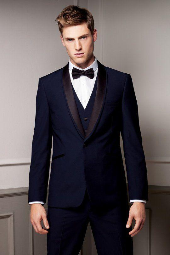 Men Suits Slim Fit Shawl Lapel Tuxedos Navy Blue Wedding Suits For ...