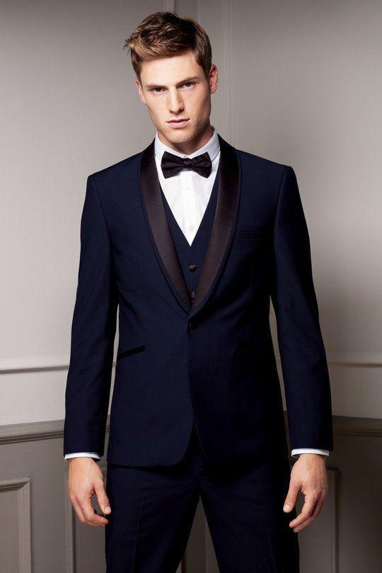Men Suits Slim Fit Shawl Lapel Tuxedos Navy Blue Wedding Suits For Men Groomsmen Suits One