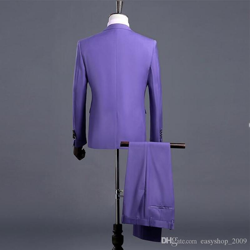 Jacket+Pants+Vest 2018 Men Three Piece Slim Fit One Button Formal Suits Purple Wedding Suit Business Mens Formal Wear