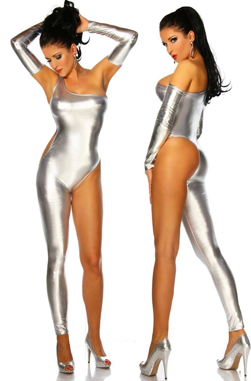 Women Leotards Stage Wear One-shoulder Single Trouser Leg ...