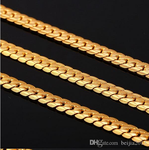 New Trendy 18K Stamp Necklace Set Men Jewelry Wholesale 18K Real Gold Plated Chain Necklace Bracelet African Jewelry Sets S374