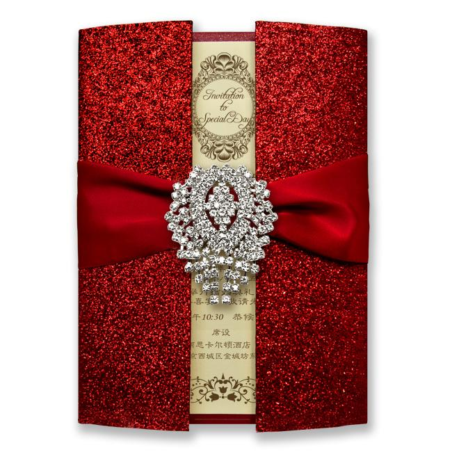 luxury shiny red wedding invitation cards royal wedding invitation red wedding invitation with red ribbon bow set of 50 - Royal Wedding Invitation