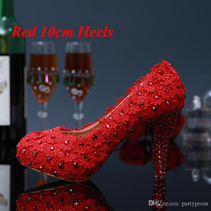 Los zapatos de vestido de novia dulce rosa y rojo de novia de encaje de flores Rhinestone Tacones altos verano de las señoras Zapatos Pluse Tamaño 34 - 43