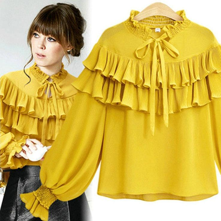 Plus Size 2018 Spring Shirt Women S Tops Long Lantern Sleeve Pleated  Chiffon Shirts Lady S Blouses Fashion Casual Ruffles Shirts New Arrival UK  2019 From ... c48e8514e19a