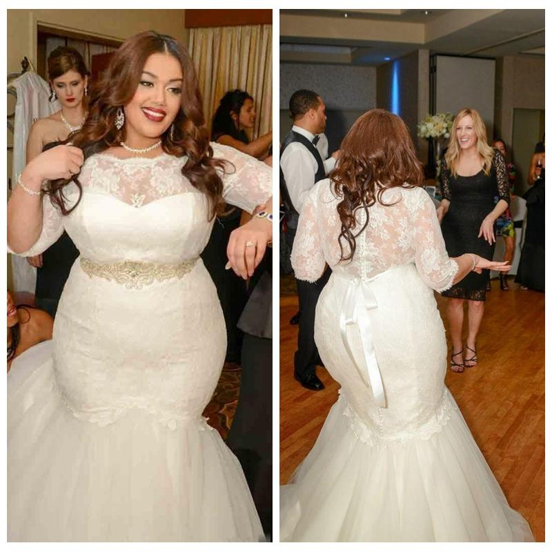 2016 Plus Size Mermaid Wedding Dresses Sheer Crew Neck 1/2