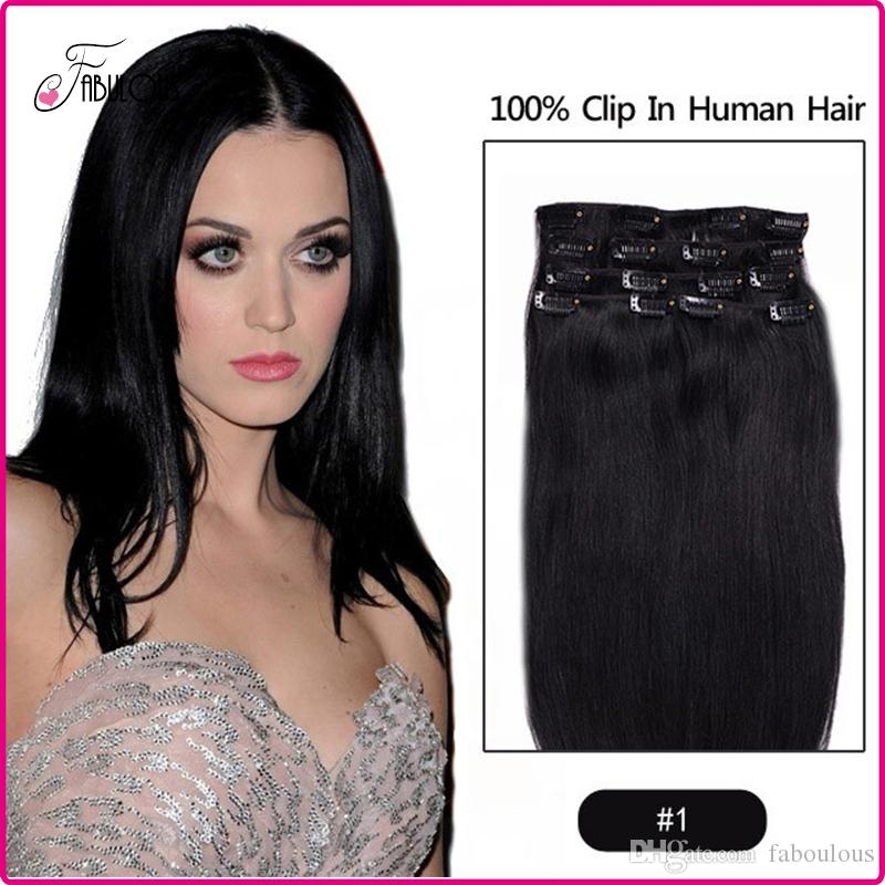 Cheap Clip In Virgin Human Hair Extension Remy Human Hair 15 24inch