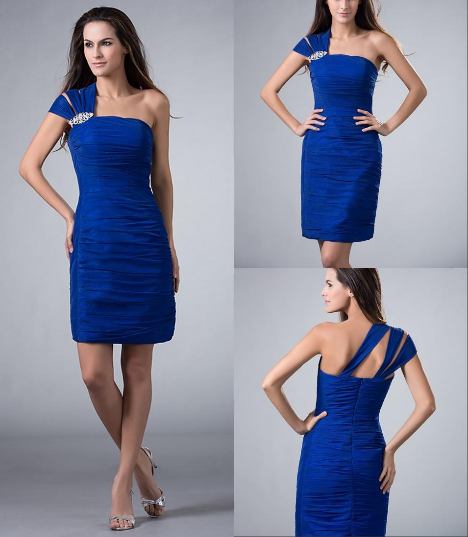 Royal Blue Short Mini One Shoulder Homecoming Dresses For Juniors ...