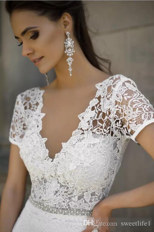 Milla nova 2019 korta ärmar sjöjungfru bröllopsklänningar djupa v nacke sexiga backless långa brudklänningar spetsar satin långa strandbröllopsklänningar