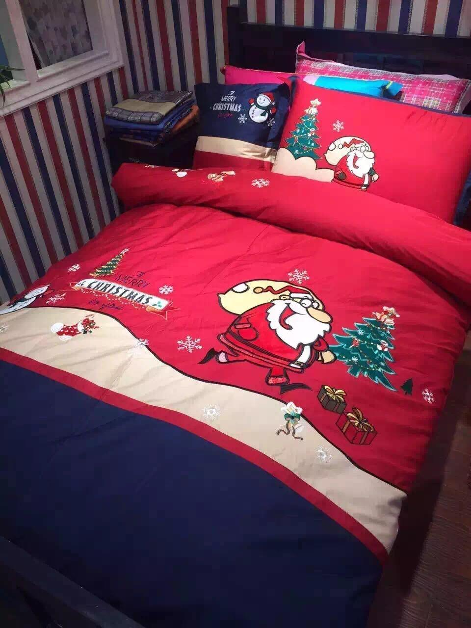 christmas santa claus snowman bedding bed linen set embroidered 3