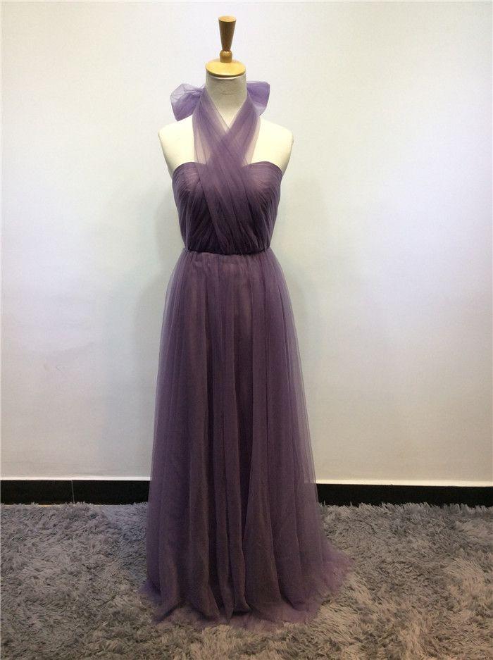Vestido de dama de honra de tule conversível 2018 Halter pescoço drapeado longo vestido de festa de casamento elegante vestido de dama de honra