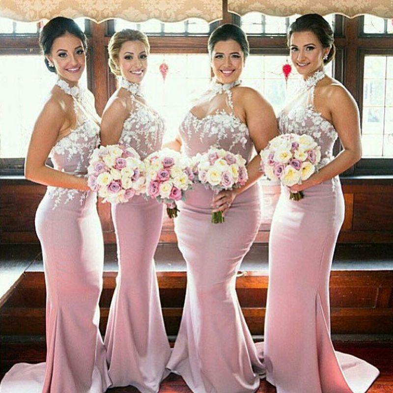 8cd7ca3a2 Elegant Plus Size Bridesmaids Dresses High Neck Halter Sleeveless Mermaid Bridesmaid  Dress 3d Floral Appliques Wisteria Custom Made Gowns Beautiful ...