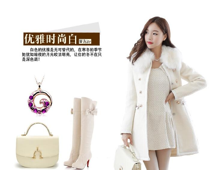 Woman Coat Outerwear Winter 2015 Korean Womens Thick Woolen Coat Fur Collar Double Breasted Slim Long Wool Trench Winter Coats for Women