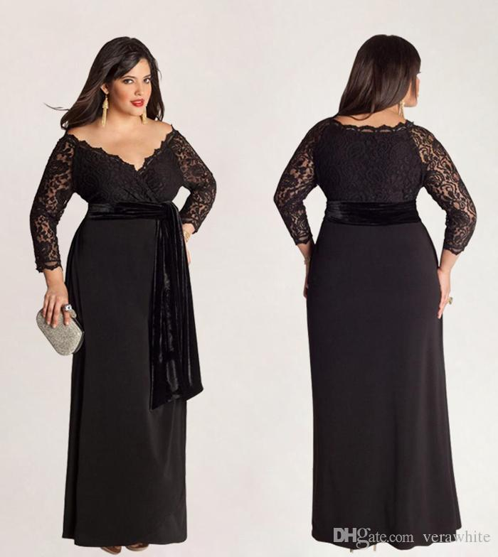 Modest Column Plus Size Evening Dresses Off Shoulder Neck Black