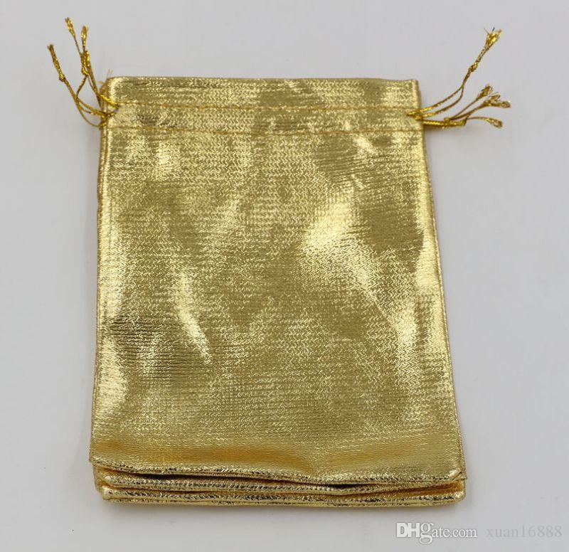 ¡Venta caliente! Bolso de la joyería del bolso del regalo del favor del boda de la organza de la hoja de oro paquete 11x16cm / 13x18cm 364