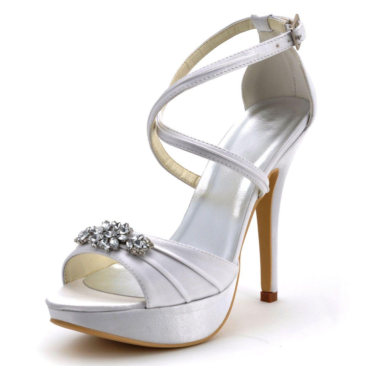 2015 New Fashion White Wedding Shoee Beaded T Straps High Heels