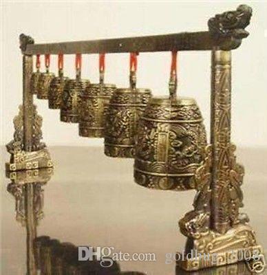 Großhandel Günstige Meditation Gong mit 7 Verzierten Glocke mit Dragon Design Chinesische Musikinstrument Statue dekoration