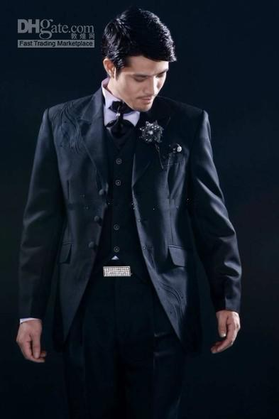 3 Buttons Embroidery Groom Tuxedos Peak Lapel Groomsman Suits Jacket+Pants+Tie+Waistcoat G691