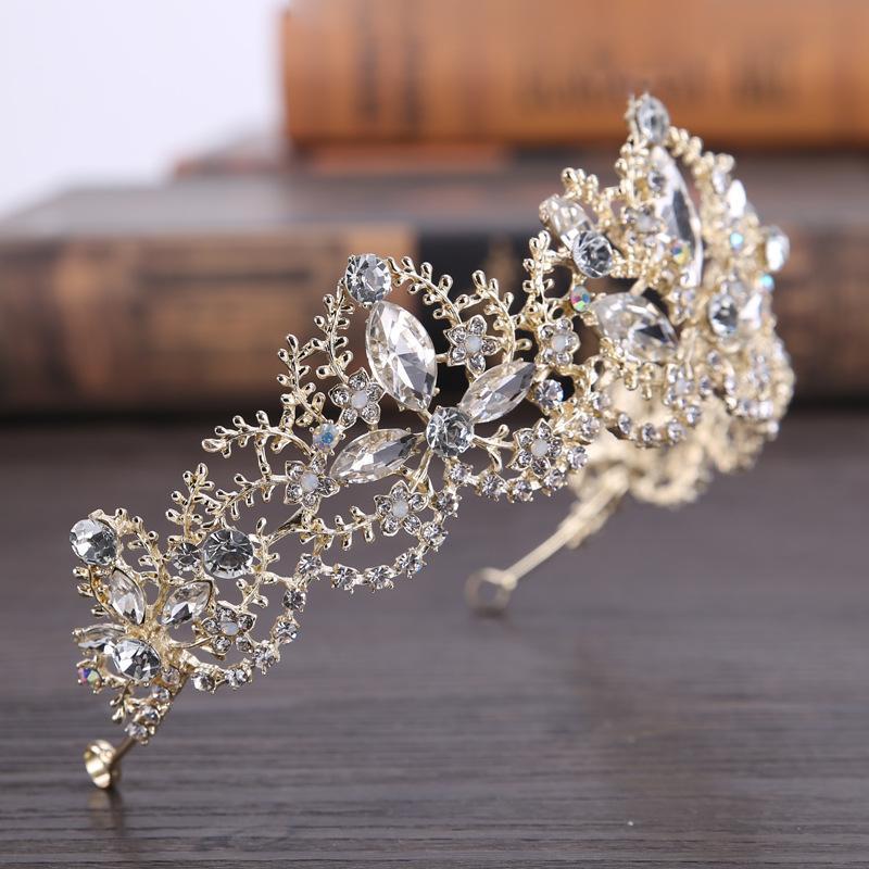 Lüks Gelin Taç Sparkle Rhinestone Kristaller Roayal Düğün Taçlar Kristal Peçe Bandı Saç Aksesuarları Parti Tiaras Barok chic