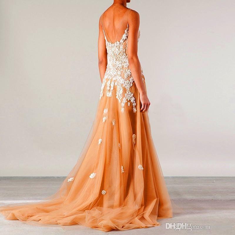 Impresionante apliques de encaje una línea de vestidos de noche 2016 Nueva llegada de espaguetis atractivo vestido de baile de cuello cariño sin respaldo Vestidos de fiesta de tren de barrido