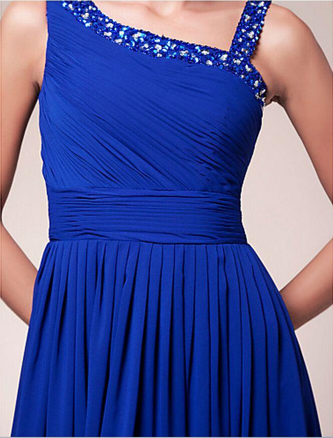 Cheap Plus Size New Chiffon Bridesmaid Dress One Shoulder Wedding Prom Maxi Gown Dress Custom Made Floor-length Sleeveless