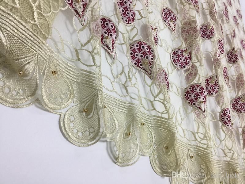 African lace farbic beaded net farbic African French Lace mix wax cloth for wedding dress