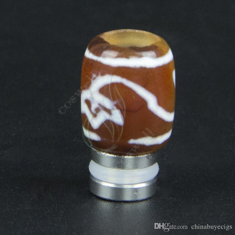 Pure Natural 510 Agate drip tips Cigarettes électroniques Embouchures en agate haut grade riche style Large alésage vape mod VS Jade drip tips