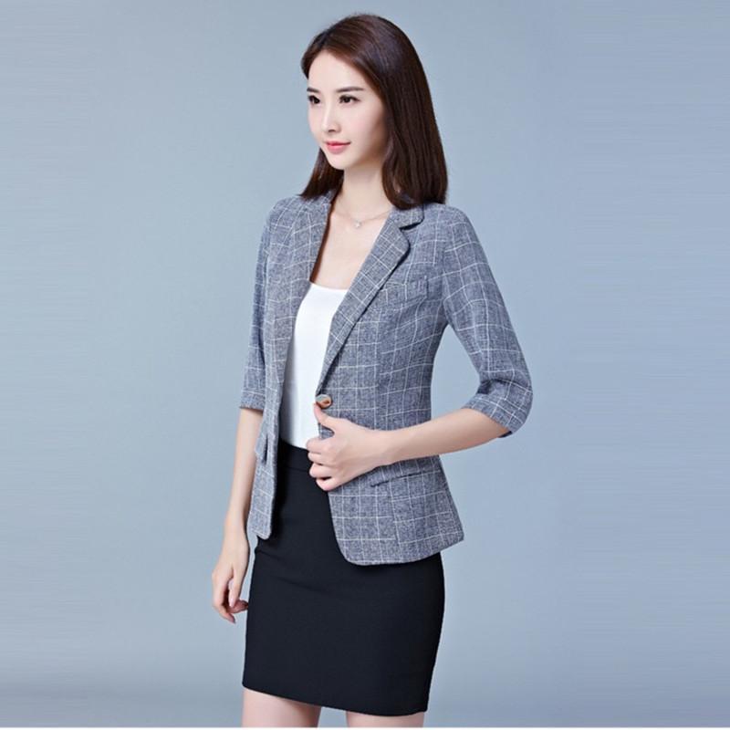 bad52348b591d Elegante giacca per donna ufficio vestito da lavoro formale abito da lavoro  Business intaglio singolo pulsante grigio solido marca Corea giacca elegante