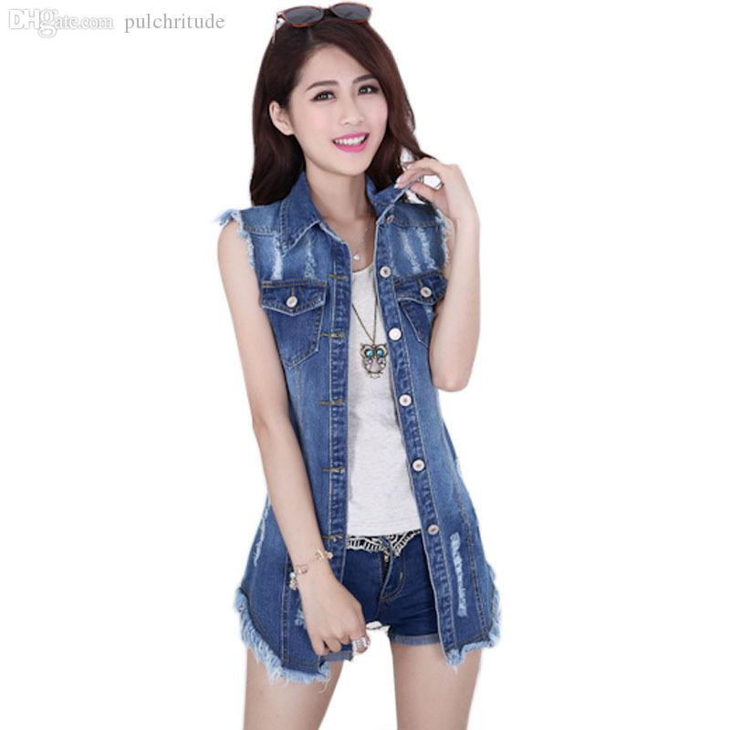 001cef2bc0782 2019 Wholesale 2015 Summer New Female Denim Vest Korean Style Women  Sleeveless Long Jeans Vests Jacket Casual Woman Cowboy Clothes Big Size 5XL  From Karel