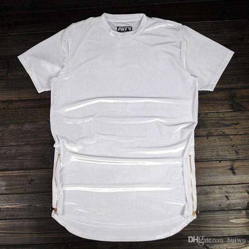 رجل جديد الهيب هوب الخيوط الطويلة تي شيرت أزياء مرحبا شارع الرجال الموسعة قميص القطيفة الذهبي السوستة الجانبية المخملية منحني تنحنح المحملة