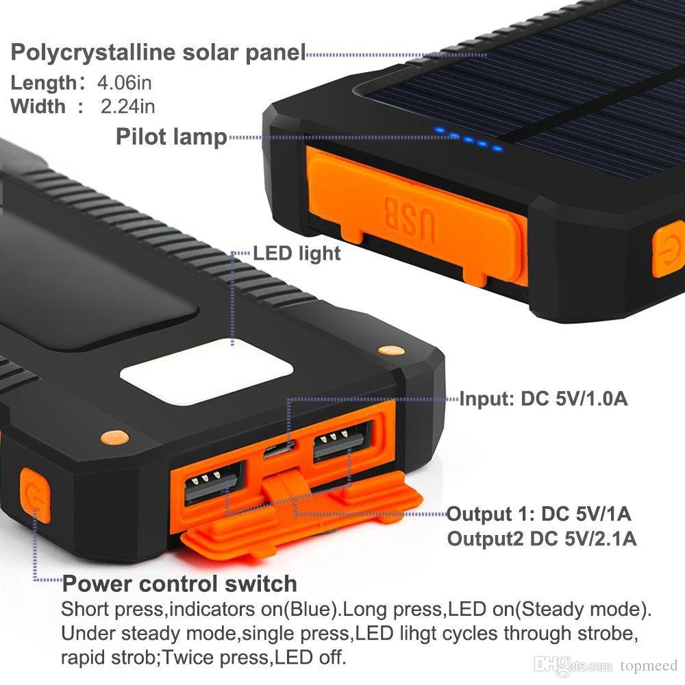 Iphone 8 Solar Power Bank Dual USB Power Bank 20000mAh External Battery Portable Charger Bateria Externa Pack for Mobile phone