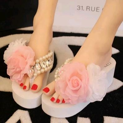 Aesthetic fashion white flower flip flops shoes platform wedges aesthetic fashion white flower flip flops shoes platform wedges slippers platform sandals high heeled slippers flip flops platform slippers pearl string mightylinksfo
