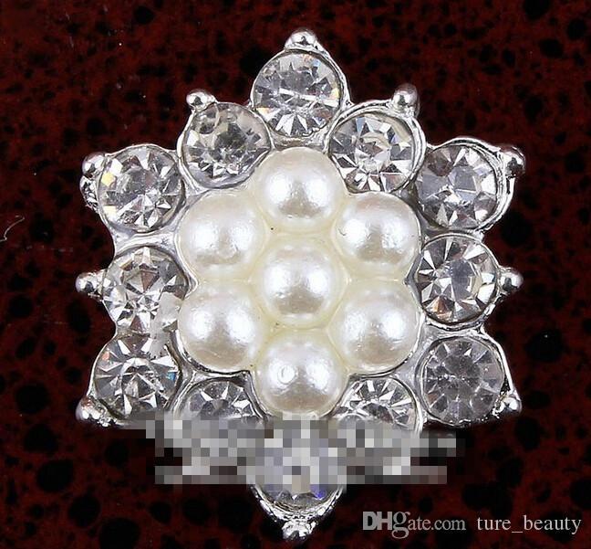 5%off 17MM FACTORY PRICE Artificial Sparkly Snow Shape Alloy Rhinestone Pearl Buttons For Wedding/Phone/Hair Accessories