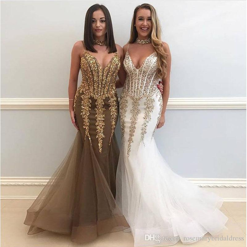 Spaghetti Mermaid Golden Prom Dresses Bling Gold Lace Appliques Floor  Length Evening Dresses Important Occasion Gowns Beautiful Prom Dresses Best  Prom ...