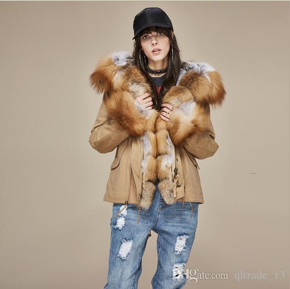 New arrival JAZZAVER Brown fur trim brown fox and rabbit fur liner Khaki mini parka with fox Placket fur trim hoody