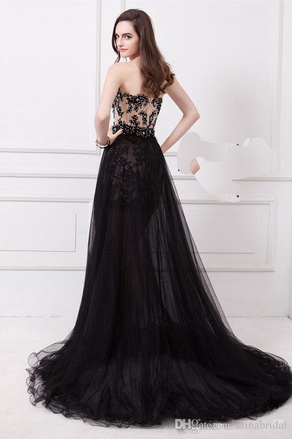 Odłączana spódnica Dwa kawałek Czarny Prom Dresses Sweetheart Sheath See przez Szampana Cekiny Side Slit Party Formalne Suknie Wieczorowe