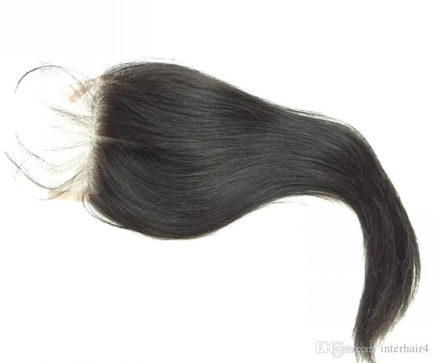 Brésilienne Soie Base Fermeture soie droite Cheveux Humains 4x4 Fermeture Soie Blanchie Noeud Moyen Moyen 3 Partie Base En Soie