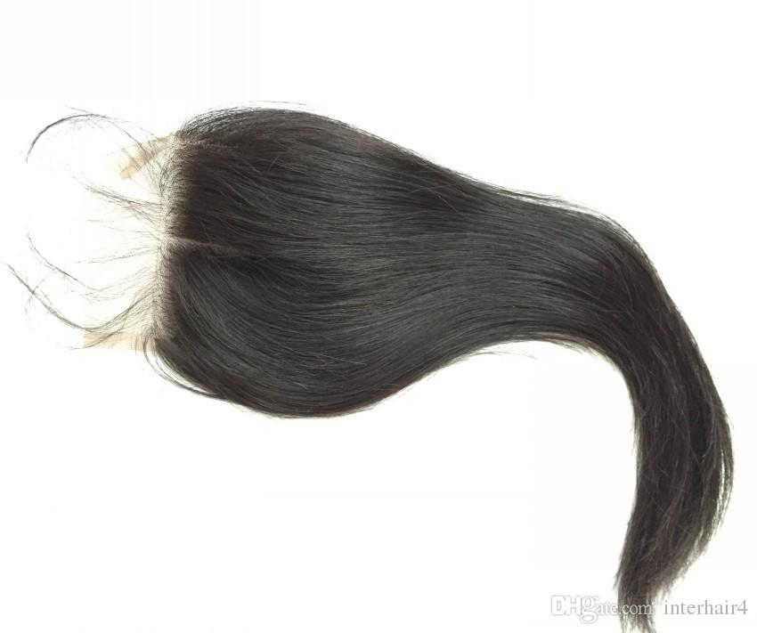 Virgin Brazilian hair Silk Base Closure 4x4 Silk Top Lace Closure With Baby Hair Bleached Knots Free Middle 3 Way Part