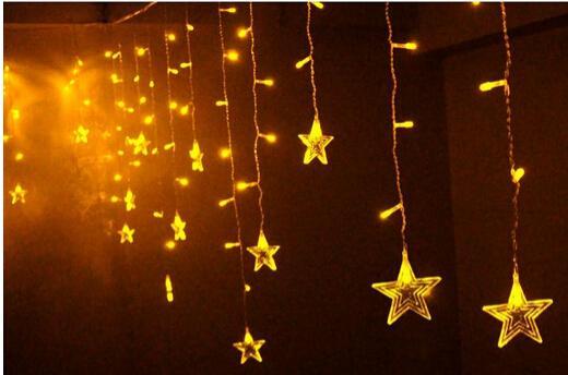 3.5M * 0.8M llevó luces cortina de la estrella para la decoración de Navidad interiores carámbano luz cadenas de luz de las luces parpadeantes luces de colores.