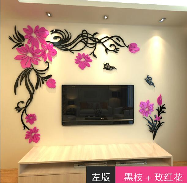 New Arrival Crystal Three Dimensional Wall Stickers Fashion Flower Vine  Butterfly Tv Wall Acrylic 3d Relief Wall Stickers Part 89