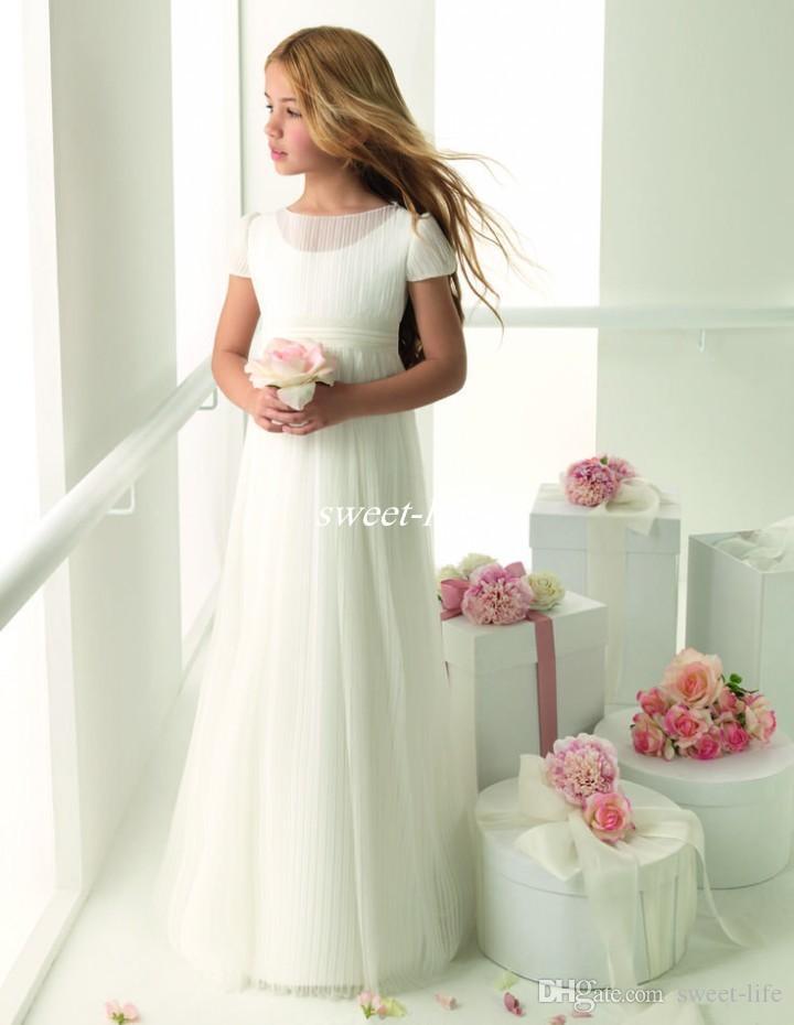 Venta caliente 2019 Encantadora boda Flower Girl Dresses A Line Bateau con mangas cortas Tulle por encargo Ivory Little Baby Kids Comunión Vestidos