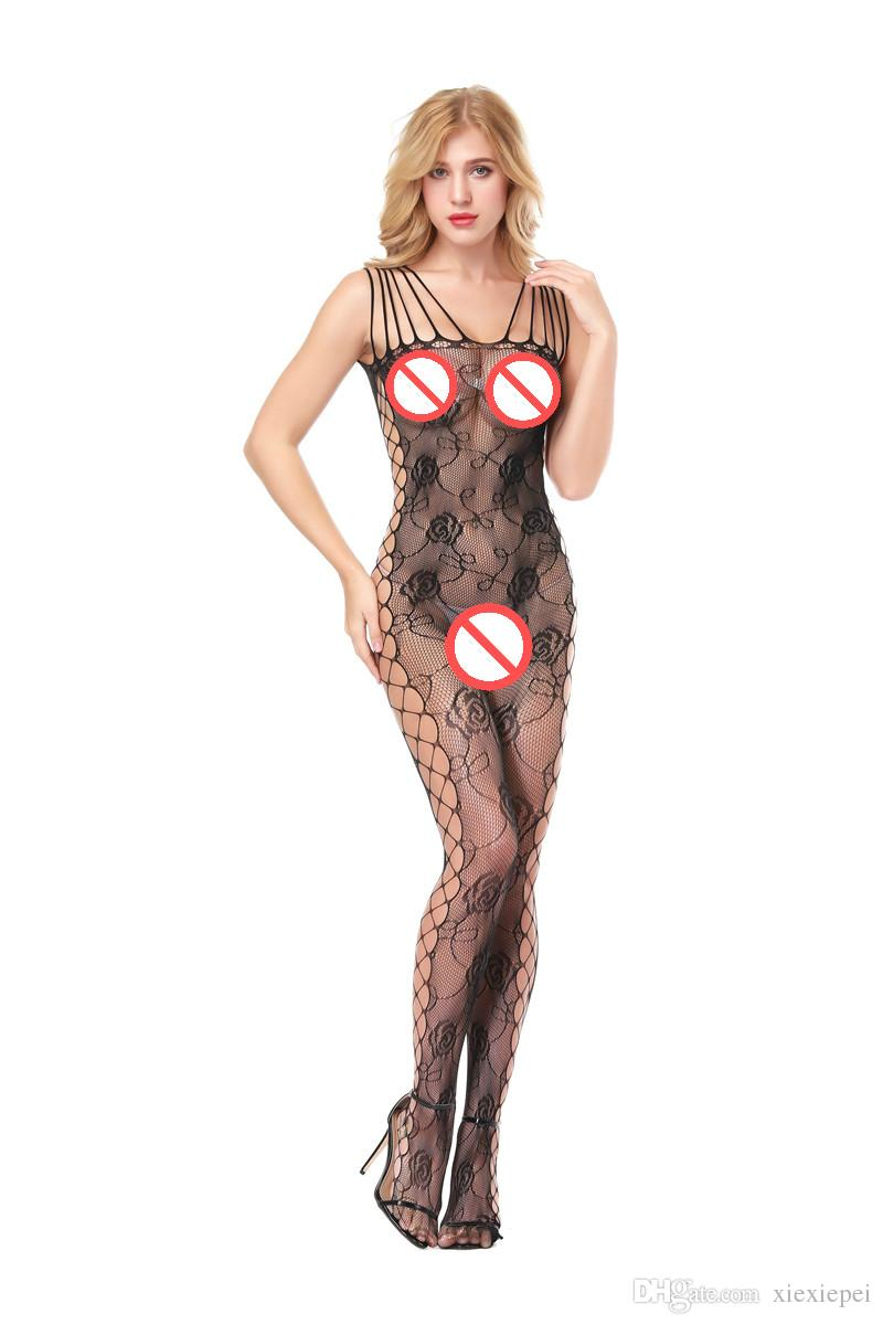 9c12da3e482 2019 Bodystocking Women Fishnet Onesie Crotchless Stockings Sexy Lingerie  Bodysuit Sex Product Nightwear Nighty Mesh Hollow Out Pajama From  Xiexiepei