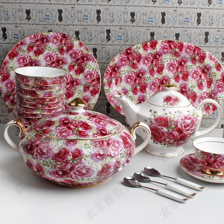 Dinnerware Sets 88 head rose tableware bone china tableware Coffee sets luxury villa housing s&le tableware set & Dinnerware Sets 88 Head Rose Tableware Bone China Tableware Coffee ...