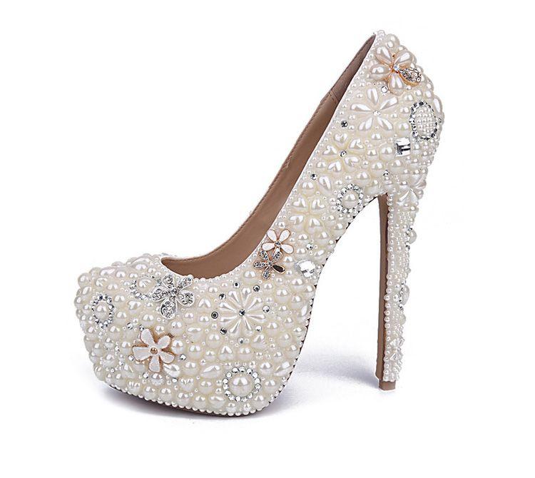 White Pearl Wedding Shoes Wholesales 2017 New Beautiful Flower Rhinestone Bridal Shoes Platform High Heels Big Size Women Pumps