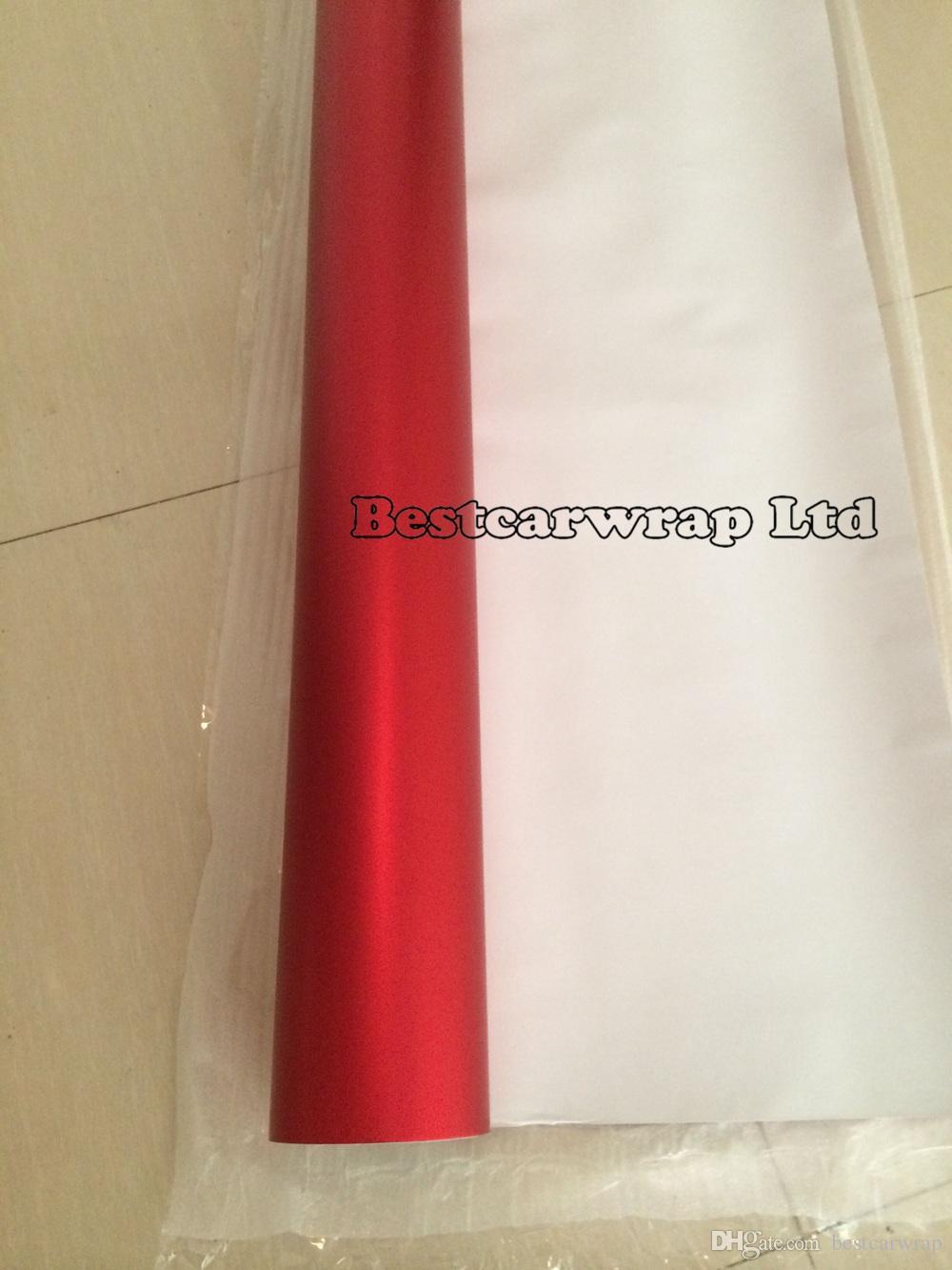 3M Qualità Chrome Satin Red Vinile Car wrapping con Air Bubble Free Chrome rosso opaco Film copertura del veicolo Sticker foil size1.52x20m / Roll