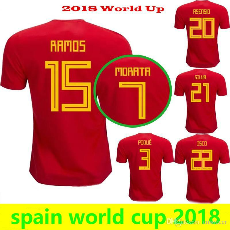 Spain 2018 World Cup Thailand Quality Home Red Away White Morata ... b3d2eb1798e13